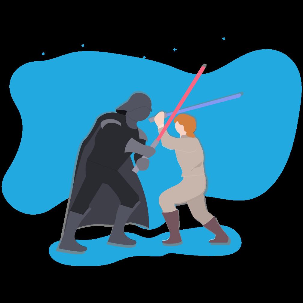 Lightsaber duel between Darth Vader and Luke Skywalker
