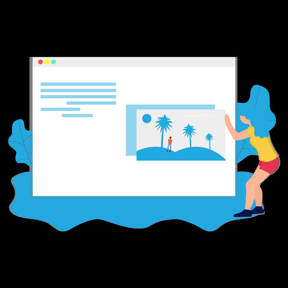 A woman building a web page